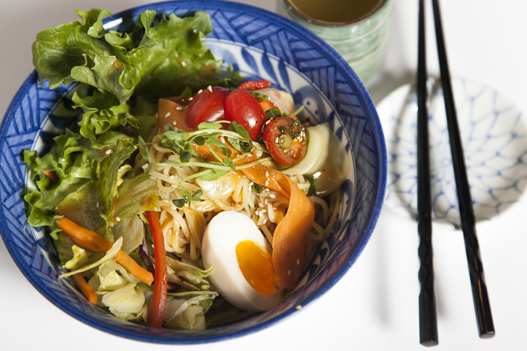 Ramen noodle salad with egg + miso dressing8